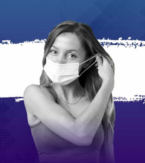covid19 risco de contágio mulher com máscara